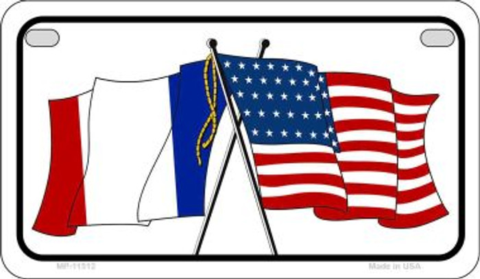 France / USA Flag Novelty Metal Motorcycle Plate MP-11512