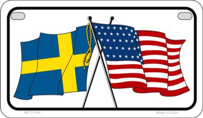 Sweden / USA Flag Novelty Metal Motorcycle Plate MP-11514