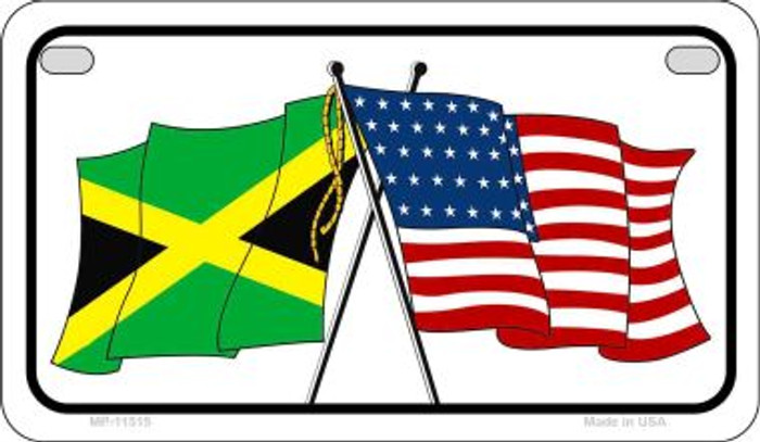 Jamaica / USA Flag Novelty Metal Motorcycle Plate MP-11515