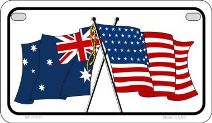 Australia / USA Flag Novelty Metal Motorcycle Plate MP-11517