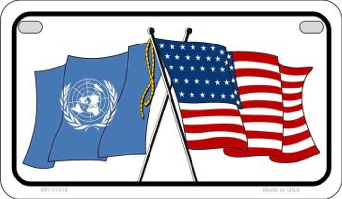 United Nation / USA Flag Novelty Metal Motorcycle Plate MP-11518