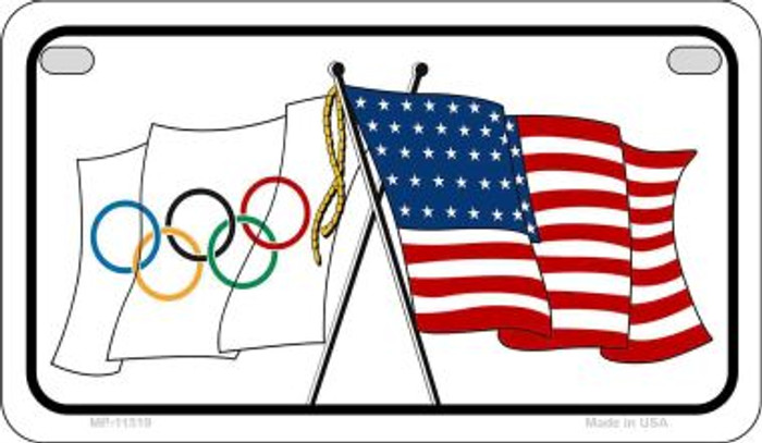 Olympic / USA Flag Novelty Metal Motorcycle Plate MP-11519