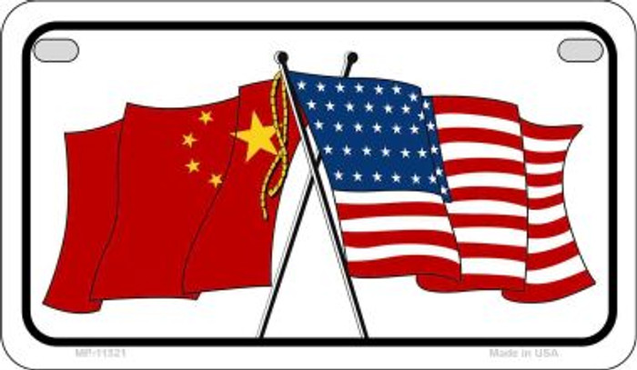 China / USA Flag Novelty Metal Motorcycle Plate MP-11521