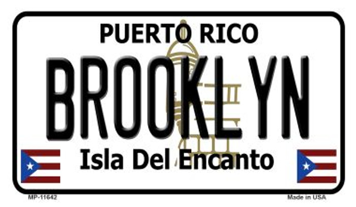 Brooklyn Puerto Rico Novelty Metal Motorcycle Plate MP-11642