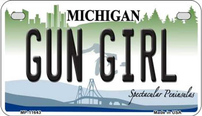 Gun Girl Michigan Novelty Metal Motorcycle Plate MP-11643