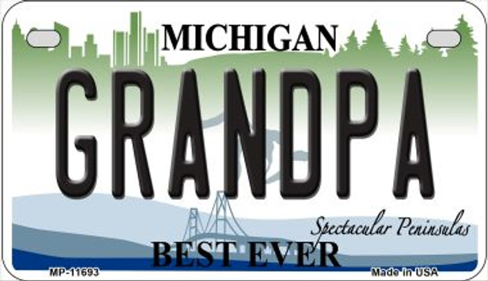Grandpa Michigan Novelty Metal Motorcycle Plate MP-11693