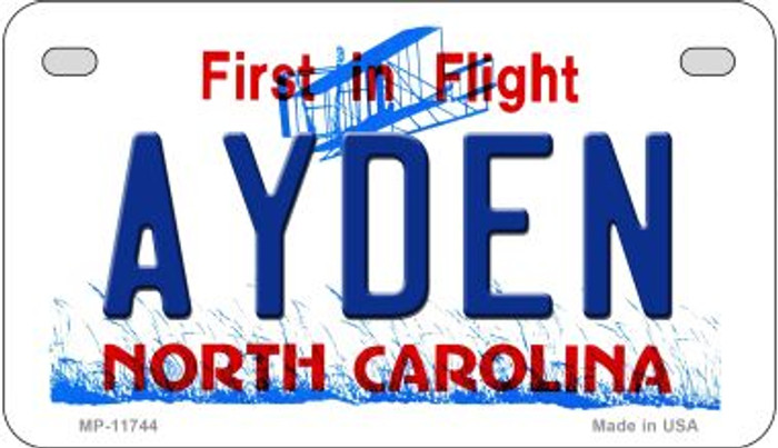 Ayden North Carolina Novelty Metal Motorcycle Plate MP-11744