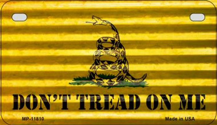 Dont Tread On Me Corrugated Novelty Metal Motorcycle Plate MP-11810