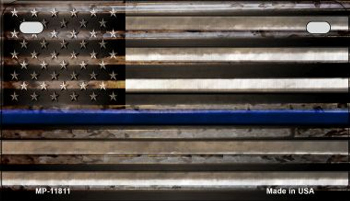 Police Thin Blue Line Corrugated Novelty Metal Motorcycle Plate MP-11811