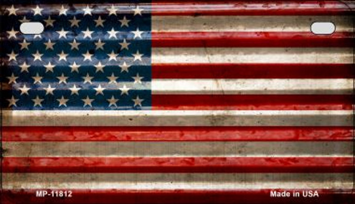 American Flag Corrugated Novelty Metal Motorcycle Plate MP-11812