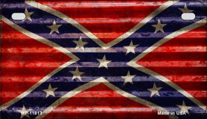 Confederate Flag Corrugated Novelty Metal Motorcycle Plate MP-11813