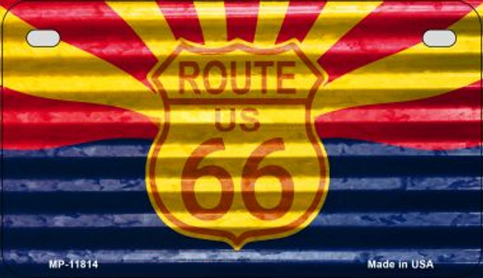 Arizona Route 66 Corrugated Novelty Metal Motorcycle Plate MP-11814