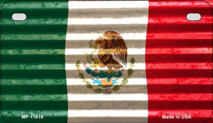 Mexico Flag Corrugated Novelty Metal Motorcycle Plate MP-11816