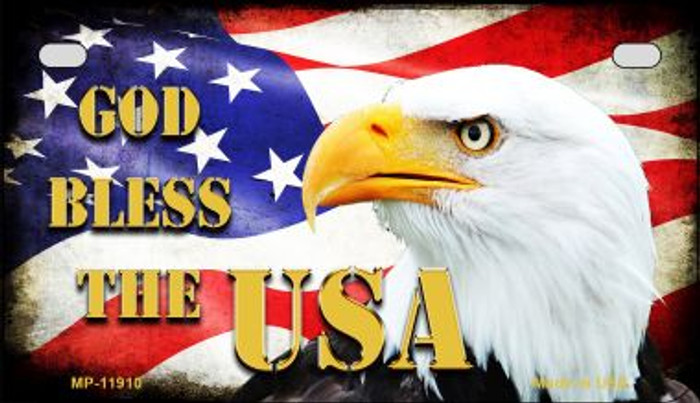 God Bless The USA Novelty Metal Motorcycle Plate MP-11910