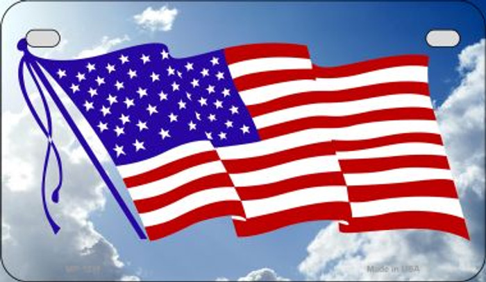 American Flag Clouds Novelty Metal Motorcycle Plate MP-1211