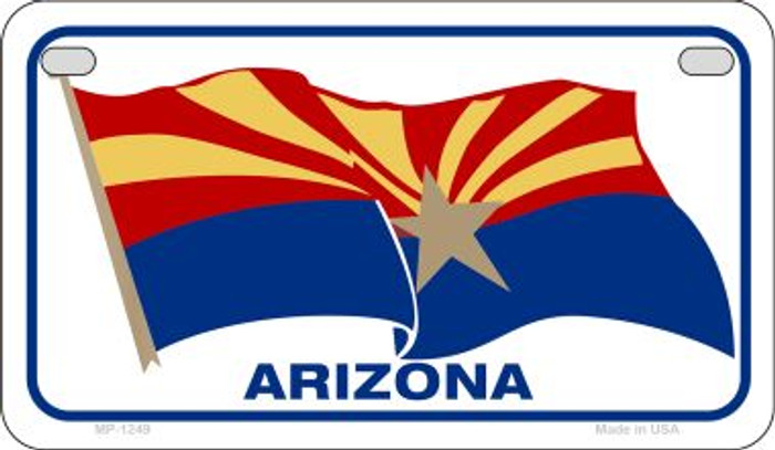 Arizona Flag Waving Novelty Metal Motorcycle Plate MP-1249