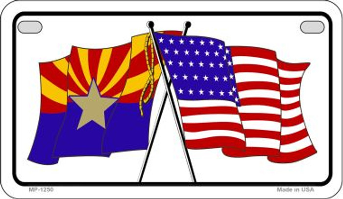 Arizona / USA Flag Novelty Metal Motorcycle Plate MP-1250