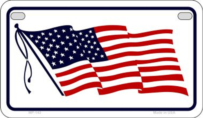 American Waving Flag White Novelty Metal Motorcycle Plate MP-143