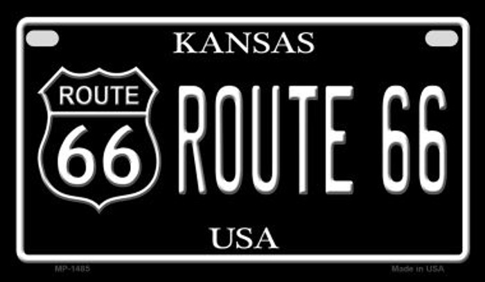 Route 66 Kansas Novelty Metal Motorcycle Plate MP-1485