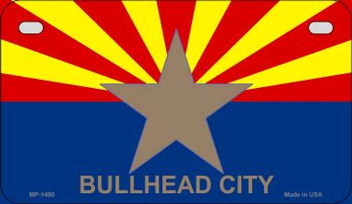 Bullhead City Arizona Flag Novelty Metal Motorcycle Plate MP-1490
