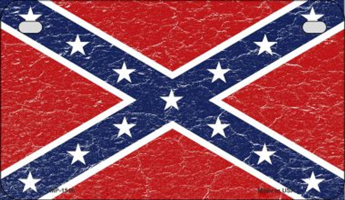 Confederate Flag Distressed Novelty Metal Motorcycle Plate MP-1516