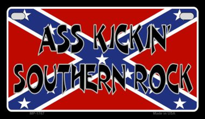 Ass Kickin Southern Rock Novelty Metal Motorcycle Plate MP-1767