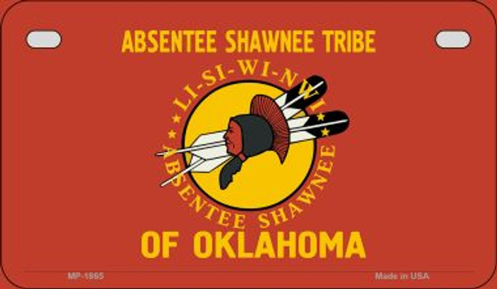 Absentee Shawnee Tribe Novelty Metal Motorcycle Plate MP-1865