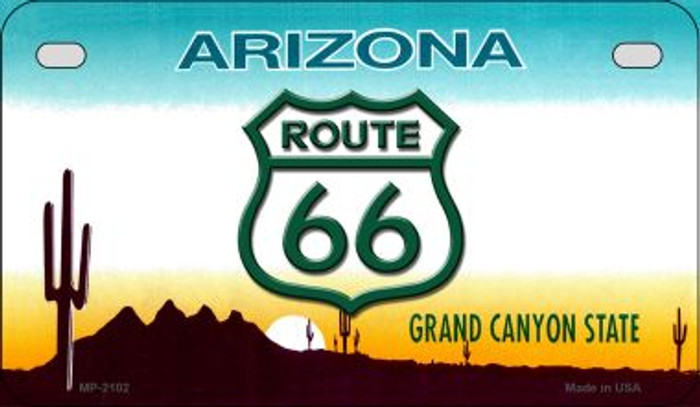 RT 66 Arizona State License Plate Novelty Metal Motorcycle Plate MP-2102