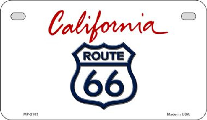 RT 66 California State Novelty Metal Motorcycle Plate MP-2103