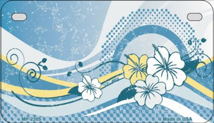 Blue Hawaii Hibiscus Novelty Metal Motorcycle Plate MP-2305