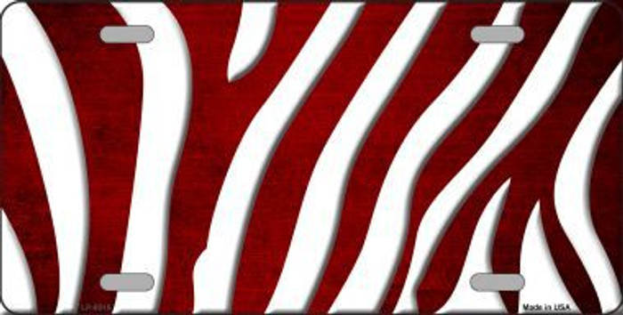 Red White Zebra Oil Rubbed Metal Novelty License Plate