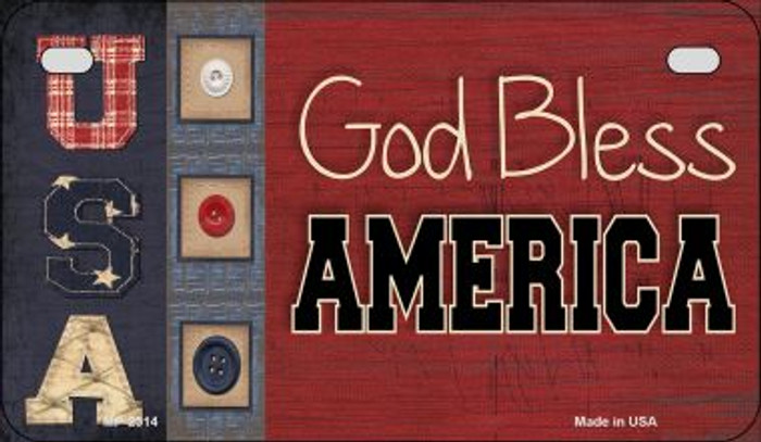 God Bless America USA Novelty Metal Motorcycle Plate MP-2514