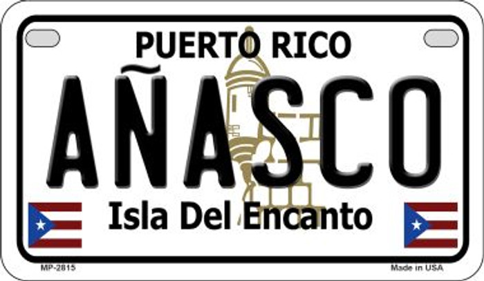Anasco Puerto Rico Novelty Metal Motorcycle Plate MP-2815
