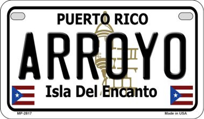 Arroyo Puerto Rico Novelty Metal Motorcycle Plate MP-2817
