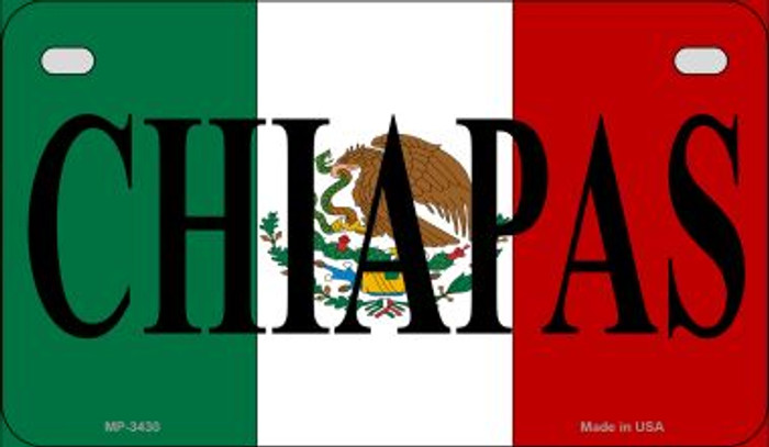 Chiapas Mexico Flag Novelty Metal Motorcycle Plate MP-3430