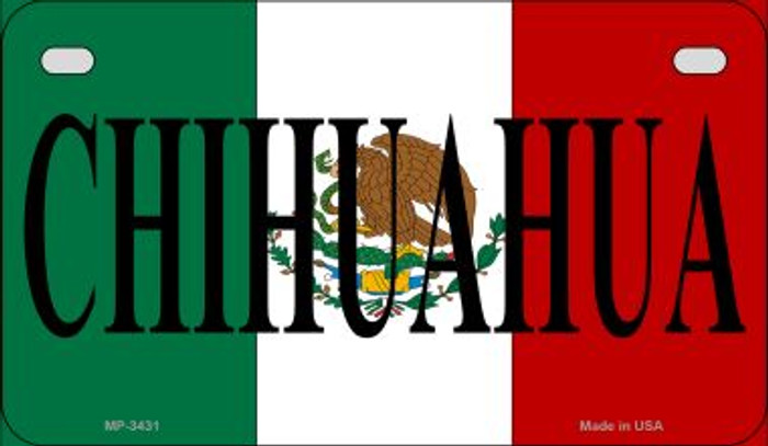 Chihuahua Mexico Flag Novelty Metal Motorcycle Plate MP-3431