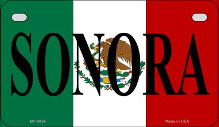 Sonora Mexico Flag Novelty Metal Motorcycle Plate MP-3434