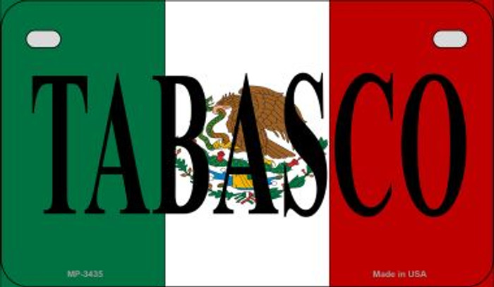 Tabasco Mexico Flag Novelty Metal Motorcycle Plate MP-3435