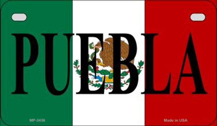 Puebla Mexico Flag Novelty Metal Motorcycle Plate MP-3436