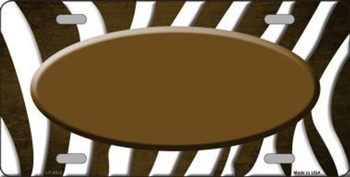 Brown White Zebra Oval Oil Rubbed Metal Novelty License Plate