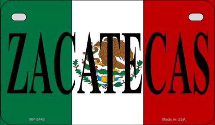 Zacatecas Mexico Flag Novelty Metal Motorcycle Plate MP-3443