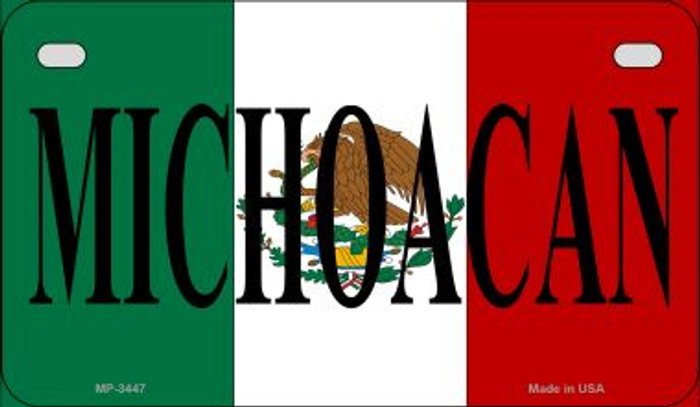 Michoacan Mexico Flag Novelty Metal Motorcycle Plate MP-3447