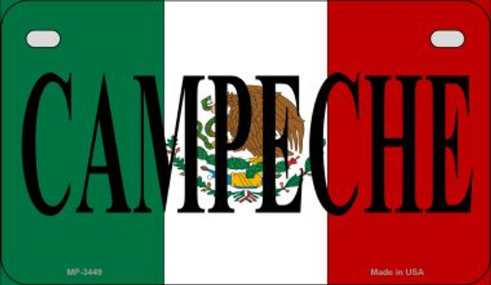 Campeche Mexico Flag Novelty Metal Motorcycle Plate MP-3449