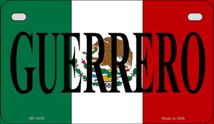 Guerrero Mexico Flag Novelty Metal Motorcycle Plate MP-3452
