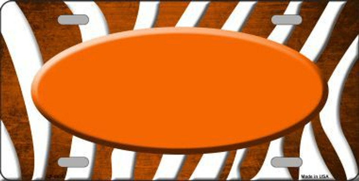Orange White Zebra Oval Oil Rubbed Metal Novelty License Plate