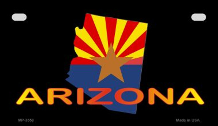 Arizona Outline Flag Novelty Metal Motorcycle Plate MP-3558