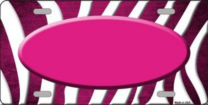 Pink White Zebra Oval Oil Rubbed Metal Novelty License Plate