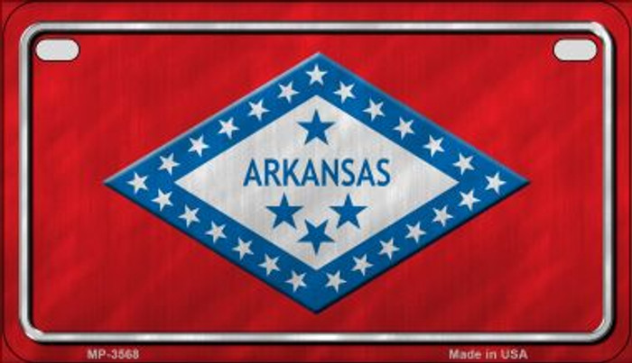 Arkansas Flag Novelty Metal Motorcycle Plate MP-3568