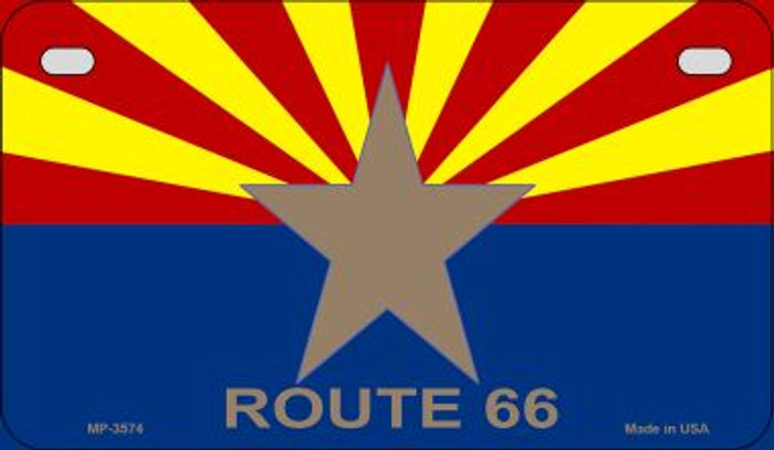 Arizona Flag with Route 66 Novelty Metal Motorcycle Plate MP-3574