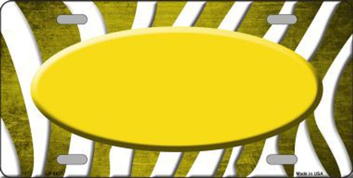 Yellow White Zebra Oval Oil Rubbed Metal Novelty License Plate